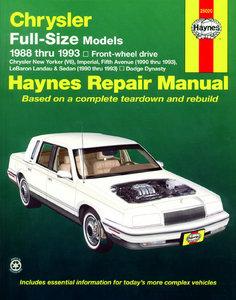 Chrysler Full-size Front Wheel Drive Models covering Chrysler New Yorker (V6) and Dodge Dynasty for 1988 through 1993 and then Imperial, Fifth Ave, LeBaron Landau & Sedan for 1990 thru 1993