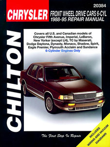 Chrysler Front Wheel Drive Cars with 6 Cylinder Engine 1988-95 covering Chrysler Fifth Avenue, Imperial, LeBaron, New Yorker (except LH) and TC by Maserati; Dodge Daytona, Dynasty, Monaco, Shadow and